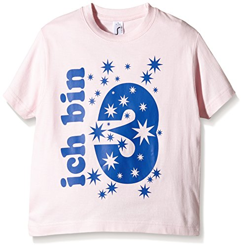 Coole-Fun-T-Shirts Ich Bin 3 Jahre T-Shirt, Rose (Pink-Navy), One Size (Taille Fabricant: 128cm/4 Ans) Fille
