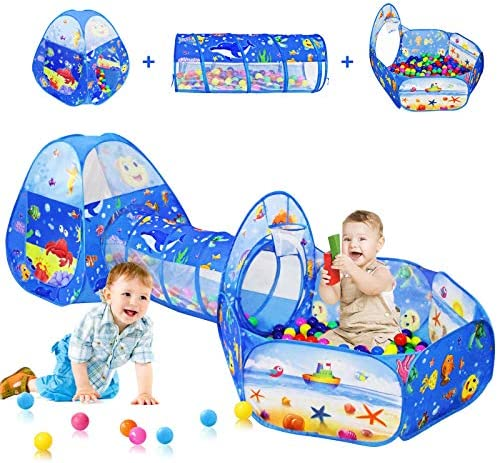 3PC Kids Ball Pits for Toddlers with Kids Play Tent Kids Tunnel for Boys Girls Baby Pop Up Playhouse product image
