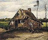 Pintar por Numeros Adultos, Van Gogh - Casa de campo con campesino regresando a casa Kit de Pintura al óleo de Lienzo DIY para Niños con Pinceles, Pigmento Acrílico, Pintura de Dibujo - 16 x 20 inch