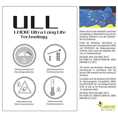 LEICKE Universalnetzteil 5V 2.4A, 6V 2A, 7.5V 2A, 9V 2A, 10V 2A, 12V 1.5A, 15V 1.5A, bis zu 22,5 Watt Ladegerät für LED Streifen, Smartphones, Tablets, Reisenetzteil, z.B. Philips Avent