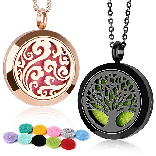 GoorDik 2 Pack Aromatherapy essential oils diffuser necklace jewelry, Cloud/Tree of Locket Pendant, 316L Stainless Steel Necklace, 24 adjustable chain with 10 Pcs refill pad