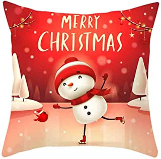 Shan-S Christmas Pillow Covers, Santa Claus Christmas Tree Elk Print Merry Christmas Xmas Holiday Decor Sofa Back Throw Cushion Cover Zippered Square Decorations Pillowcase 18 x 18 Inches