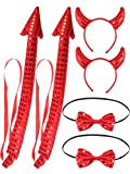 6 Pieces Halloween Devil Accessory Set Include Red Horns Devil Headbands Glitter Red Bow Tie Bendable Tail for Women Halloween Devil Costume Accessory