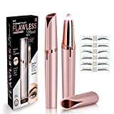 Flawless Portable Electric Eyebrow Facial Hair Remover Painless Trimmer for Smooth Finishing (Rose Gold)