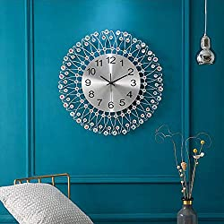 Yzi Modern and Stylish 24-Inch Wall Clock, Creative Silent Living Room Quartz Movement-Large Metal Wall Clock for Interior, Kitchen, Dining Room Decoration,White