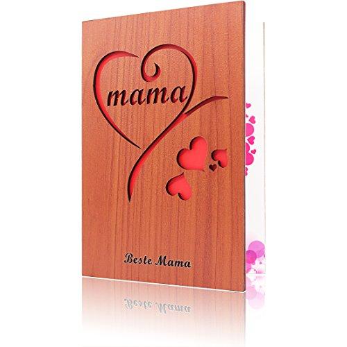 Mutter Grußkarten aus Holz Karte für Muttertags Geschenk Beste Mama Jemals Geschenkkarten