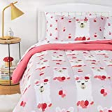 Amazon Basics Kids Easy-Wash Microfiber Bed-in-a-Bag Bedding Set - Twin, Rosy Llamas