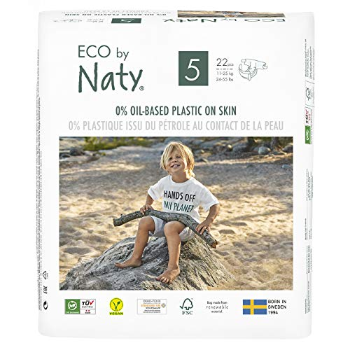 Eco by Naty Premium Bio-Windeln für empfindliche Haut, Größe 5, 11-25 kg, 6 Packungen à 22 Stück (132 Stück insgesamt), weiß