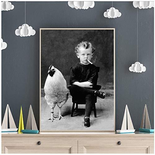 Art Canvas Raar Vintage Fotografie Poster Prints, Jongen Roken Met Zijn Kip Huisdier Antieke Portret Wall Art Decor Schilderij (60x80 cm geen frame)