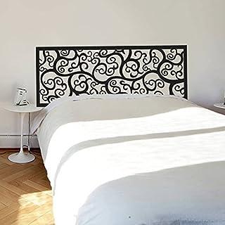 Decoración de cama barroco patrón de flores estilo cabecera calcomanía de pared vinilo arte de la pared de la pared del poste de la cama (King, negro).