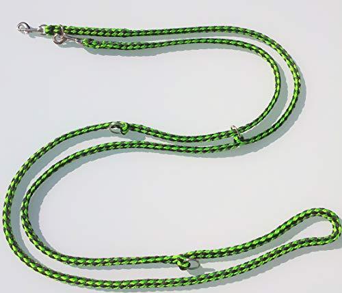 elropet Hundeleine f. kleine Hunde Doppelleine 2,80m 4fach verstellbar schwarz-neongrün