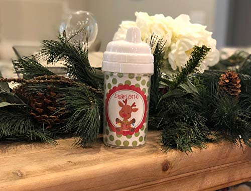 Personalized Christmas Sippy Cup, Rudolph, Reindeer, Kids Christmas Cups