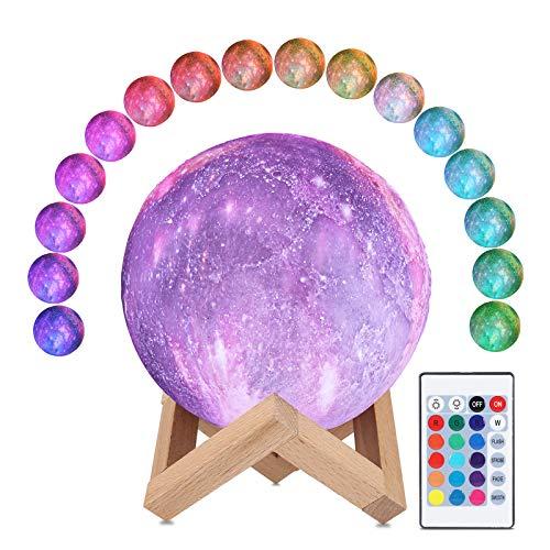 Lámpara de la luna 3D, ALED LIGHT 16 Colores RGB Luz de la Luna del Espacio 15 cm de Diámetro Universo Lunar Cielo Estrellado Lámpara de luz Nocturna con Control Remoto Luz de Humor para Decoración