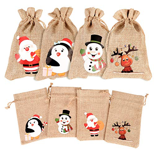 DIYASY Christmas Burlap Gift Bags, 36 Pcs Goodie Treat Bags with Drawstrings for Xmax and New Year Party