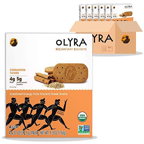 OLYRA Organic Breakfast Biscuits Cinnamon Tahini-Low Sugar High Fiber Plant Based Protein Cookies (6 Boxes)
