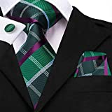OYWNF Uomini Cravatta in Seta Verde Prato Legami Floreale Cravatta Fiore all'occhiello del Fazzoletto Gemelli Wedding Set Foulard for Groom 8,5 Cm (Color : SN 3223)