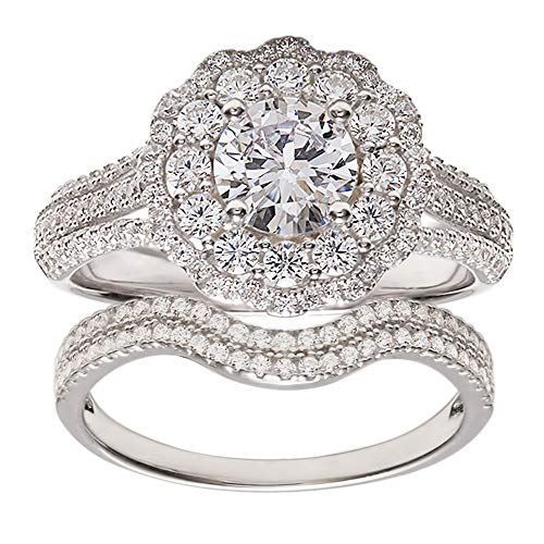 TwoBirch 18k White Gold Microplated Floral Design Duo Bridal Ring Set Engagement Ring and Wedding Band with Cubic Zirconia (SET (2 RINGS), Size 6)