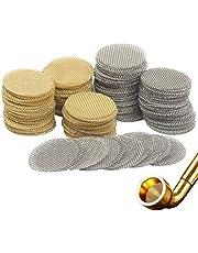 Roestvrijstalen pijpfilter, SEELOK 200 stks rookpijpgaasfilter Fijnmazig filter voor tabakgaas Shisha E-sigaretten gaas (goud en zilver)