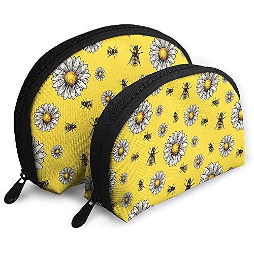 Apiary Bee Chamomile Hand Drawn Cosmetic Bags Étanche Tissu Maquillage Pochette d'embrayage Cosmétique Et De Toilette Organisateur Sac Portable Pochette