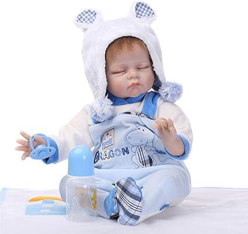 O-YLS Schlafen Junge Baby Dolls Weißhes Silikon Vinyl Magnetisch Handarbeit Reborn Babys Puppe Kinderspielzeug 22Zoll 55cm