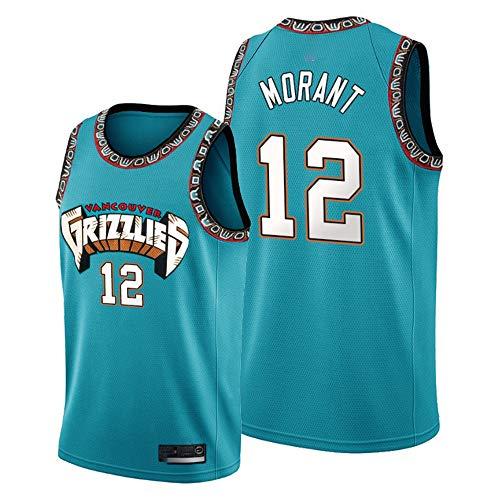 Pallacanestro Jersey, NBA Grizzlies # 12 Morant Retro Ricami Jersey, Respirabile Freddo di Tessuto, Unisex Pallacanestro Fan Maniche Sport Canotta,XL:185cm/85~95kg