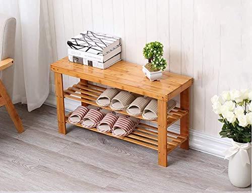 WLGQ Armario para Zapatos a Prueba de Polvo 2 Niveles Zapatero Madera de bambú Natural, Simple Zapatero Organizador de Almacenamiento, Multicapa Cambie el Taburete de Zapatos Estante de almacenam