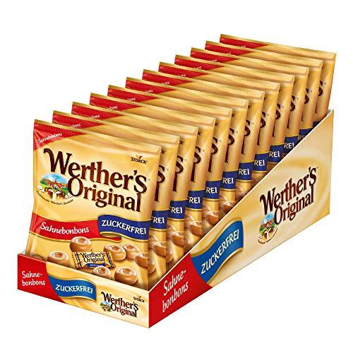 Werther's Original Sahnebonbons zuckerfrei – (12 x 70g Packung) – Schmackhafte Karamellbonbons ohne Zucker zum Naschen für dieganze Familie