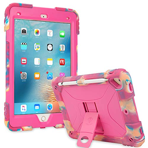 ACEGUARDER iPad Air 2 Kids Case Shockproof Heavy Duty Silicone Protective Cover with Kickstand (Pink Camo/Rose)