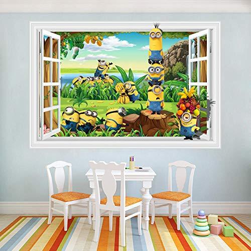 Vinilo decorativo para pared, diseño de Minions en 3D, 60 x 90 cm