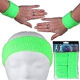 Alsino Cinta para el sudor, juego de bandas elásticas para el sudor, para hombre y mujer, para fitness, a rayas, estilo retro, de rizo de los años 80, para carnaval (verde neón)