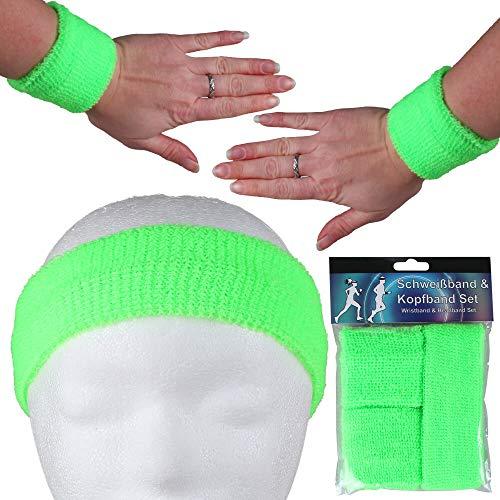 Alsino Stirnband Schweißband Set Damen Herren Sport Elastisch Schweissband Fitness Gestreift Stirn Retro Frottee 80er Jahre Schweißbänder Fasching Karneval (neon grün)