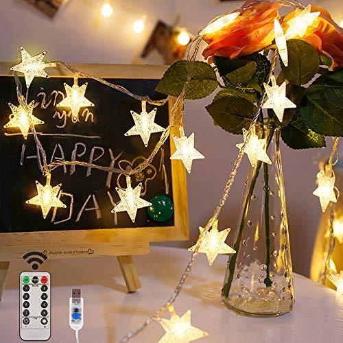 Led Lichterkette Sterne Lichterkette, 100LEDs 10M Warmweiß Lichterkette 8 Modi USB Sterne Lichterkette mit Fernbedienung für Party, Weihnachten, Halloween, Hochzeit oder Stimmung Lichter (White)