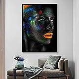 KWzEQ Pintura sin Marco Cara Creativa Maquillaje fantasía Acuarela póster Bella Dama Artista de la Pared decoración del hogarAY7353 40X50cm