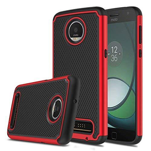 Elegant Choise Moto Z3 Case, Moto Z3 Play Case, Hybrid Dual Layer Shock Absorbing Anti-Scratch Rugged Bumper Armor Defender Protective Case for Motorola Moto Z Play 3nd Gen 2018 (Red)