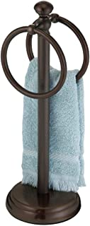 mDesign Decorative Metal Fingertip Towel Holder Stand for Bathroom Vanity Countertops to Display and Store Small Guest Towels or Washcloths - 2 Hanging Rings, 14.25