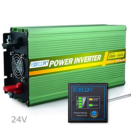 EDECOA 1500W Pure Sine Wave Power Inverter DC 24V to 240V AC with Remote Controller - Green