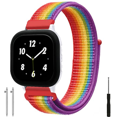 Replacement Kids Band for Gizmo Watch, Breathable Hook Loop Nylon Strap Watch Band with Quick Release Pins Compatible with Gizmo Watch 2/1 (Neon)