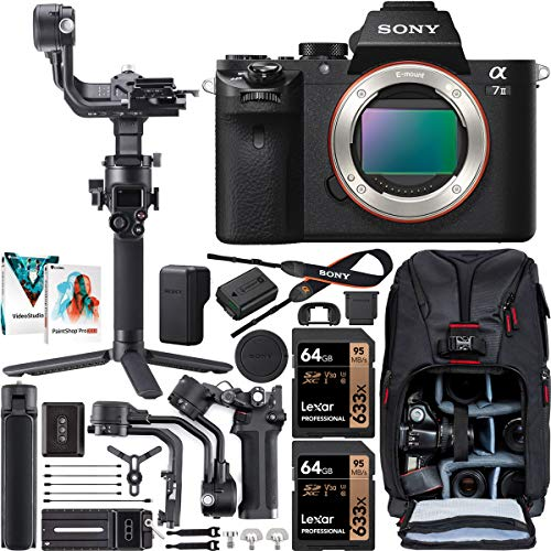 Sony a7 II Full-Frame Alpha Mirrorless Digital Camera 24MP a7II Body ILCE-7M2 Filmmaker's Kit with DJI RSC 2 Gimbal 3-Axis Handheld Stabilizer Bundle + Deco Photo Backpack + Software