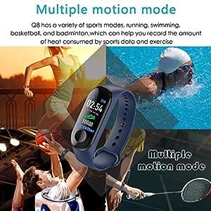 Aubess Pulsera Inteligente Fitness Tracker, M3, Pantalla táctil de Color, Impermeable, IP67, GPS, Monitor de sueño, frecuencia cardíaca, presión Arterial, para Mujeres y Hombres, 0.15, Color Negro