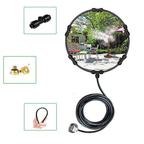 Fan Misting Kit for Outdoor Misting Cooling System-Patio Water Misters - 19.7Ft(6m) Pipe 5 Removable Brass Nozzles - Suitable for All Kinds of Outdoor Fans (19.7Ft(6M))