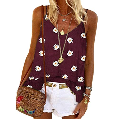 DONET Women Casual Camisole Pullover Tanks Tops V-Neck Floral Loose Beach Vest Tanks & Camis Wine Red
