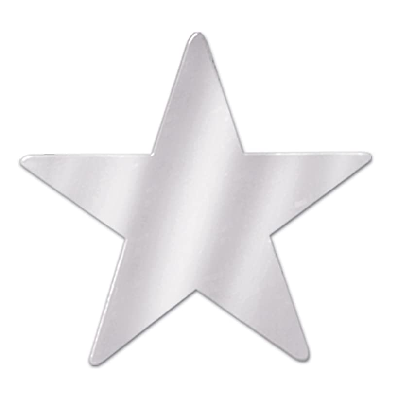 Beistle 57027-S Silver Metallic Star Cutouts, 3-1/2 Inch (Value 36-Pack)
