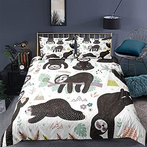 MXSS Faultier - Set di biancheria da letto con motivo animali, 2/3 pezzi, con copripiumino in microfibra + 1/2 federa (cuscino 2,135 x 200 cm)