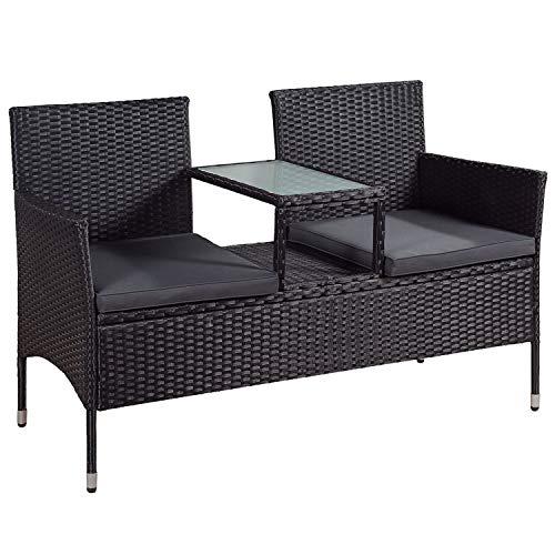 ArtLife Polyrattan Gartenbank Monaco | 2er Sitzbank mit integriertem Tisch schwarz | dunkelgraue Bezüge | Sitzgruppe Terrassenmöbel Balkonmöbel
