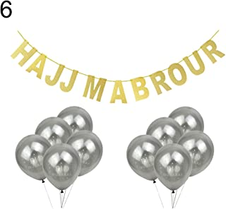 w70anFUyjn 11Pcs HAJJ MABROUR Banner Eid Mubarak Balloons Ramadan Festival Party Decoration Multiple Colors Available 6#