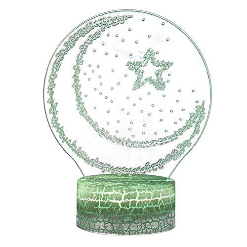 yahede Ramadán 3D Lámpara de Mesa Escritorio LED Luna Ramadán Decoración Luz Mesita de Noche Lámpara Mubarak Iluminación del sueño Decoración Luz Nocturna Lámpara de atmósfera Calm
