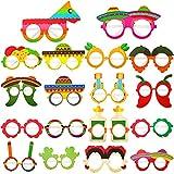 Skylety 36 Pieces Fiesta Eyeglasses Cinco De Mayo Paper Glasses Mexican Themed Decoration Taco Cactus Pinata Hello Pepper Photo Props for Fiesta Party Birthday Idea Decoration