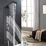 Happybuy Shower Panel Tower System Stainless Steel Multi-Function Shower Panel with Spout Rainfall Waterfall Massage Jets Tub Spout Hand Shower for Home Hotel Resort Split Type Black (Split, Black)