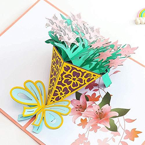 Decoración navideña Regalo Tarjeta de felicitación Boda 3D Tridimensional Hecho a Mano Personalizado Día de San Valentín Clavel Flores Cumpleaños Gracias