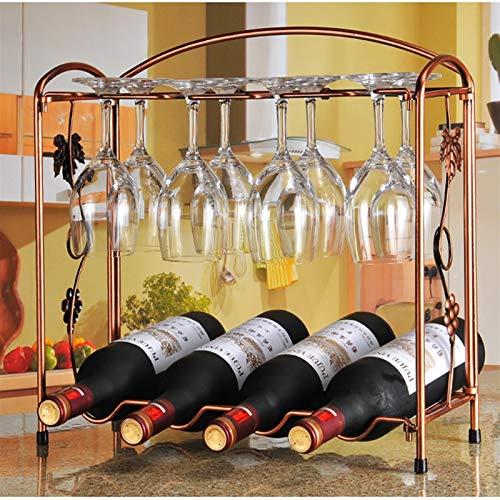 LYQQQQ Estante de Vino de Metal Plegable 4 Botellas de encimeras 8 Gafas de Vino bastidores de Taza Colgante con encimeras de Almacenamiento de Soporte, Stand de Pantalla ensamblaje 40.